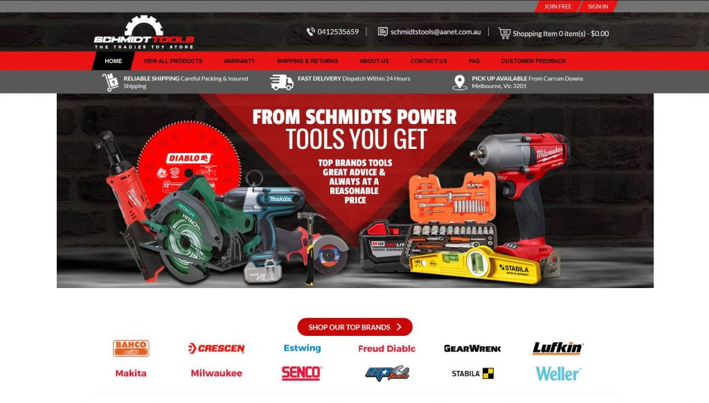 Schmids Tools Website Design